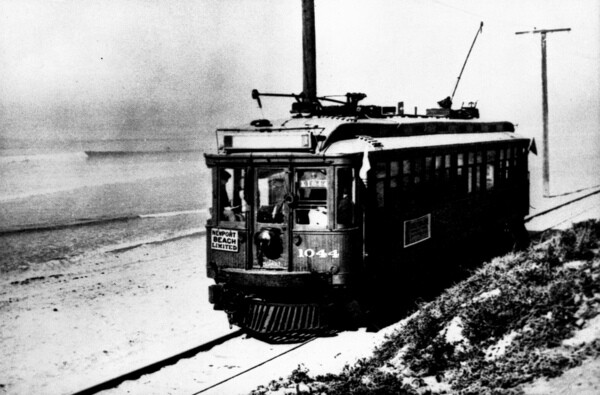 A trolley car along the Pacific Electric's Newport-Balboa Line. Courtesy of the Orange County Archives.