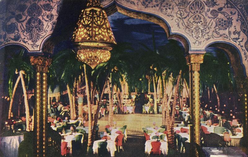 Undated postcard of the Ambassador's Cocoanut Grove nightclub