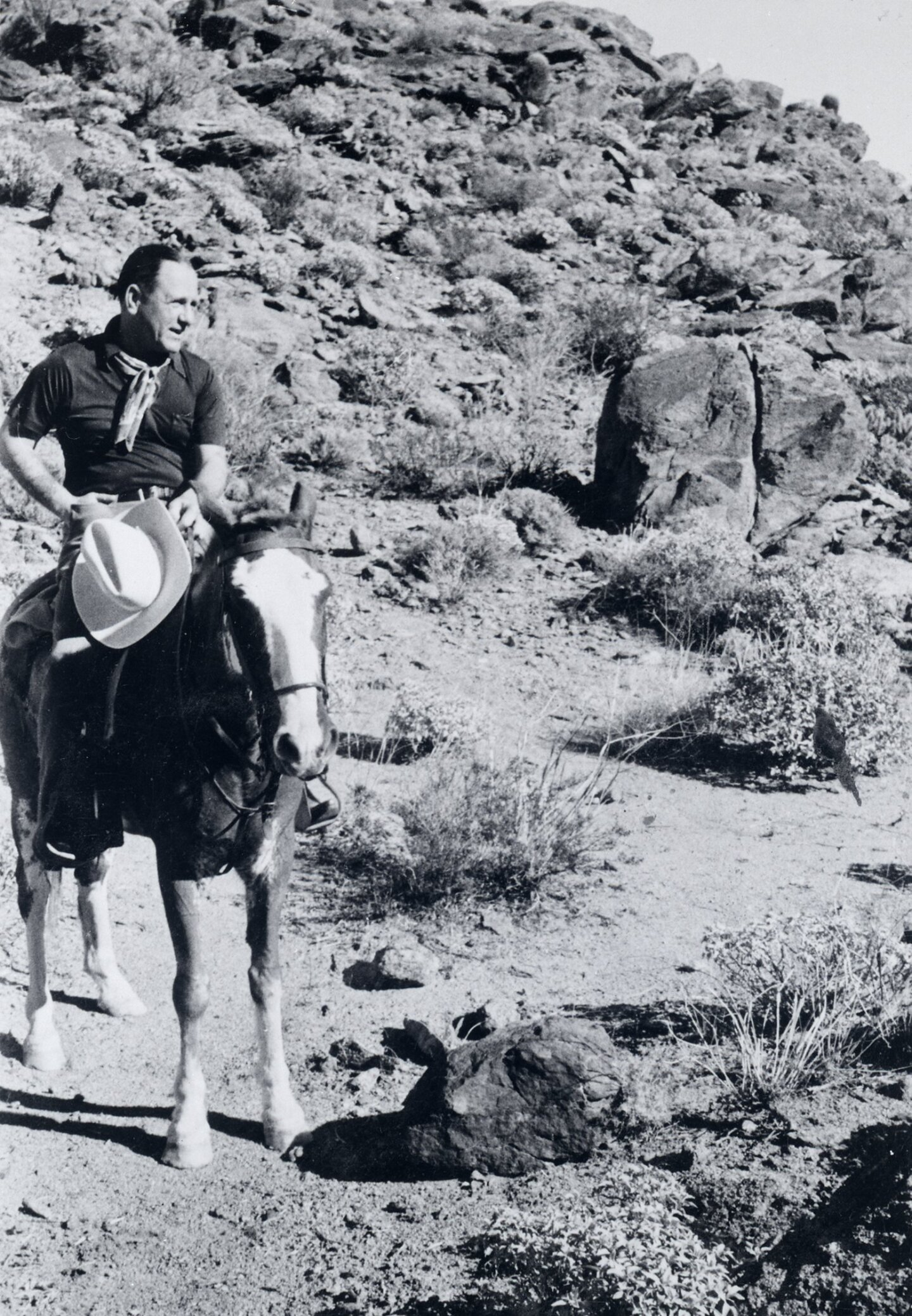 Harry Bennett rode on horseback in the desert.