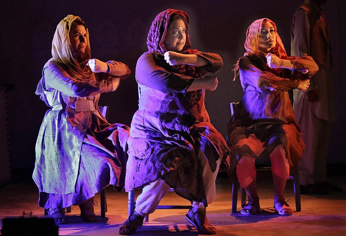 "Left to Right: Phyllis Pancella (Mother), Kamala Sankaram (Mukhtar Mai) and Leela Subramaniam (Annu) in the LA Opera Off Grand 2017 production of ""Thumbprint."" I Larry Ho"