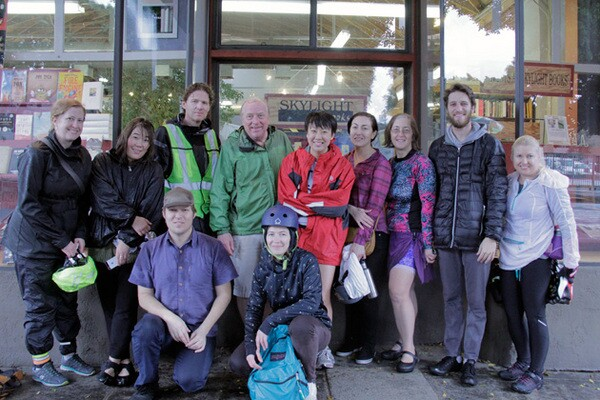 Riders in front of Skylight Books | Photo: Krista Carlson