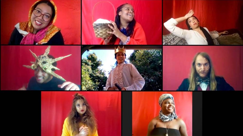 The Wallis Studio Ensemble presents Fairyland Foibles, featuring (top row L-R) Ella M Joseph, Kendell Byrd, Tiana Randall Quant; (middle row L-R) Trecey Dory, Kelvin Morales, Alexander Sheldon; (bottom row L-R) Marlena Becker, Siera Williams   M. Dahm