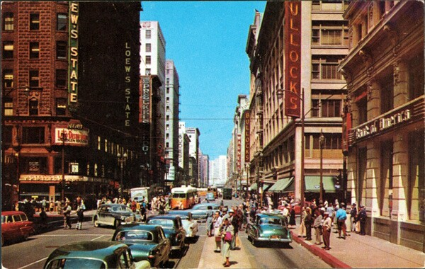 Seventh and Broadway in the early 1950s. Courtesy of the James Rojas Collection, Metro Transportation Library and Archive. Used under a Creative Commons license.
