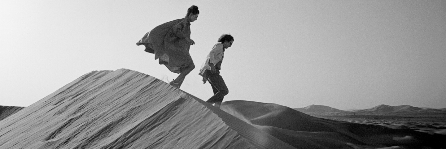 Christo and Jeanne-Claude looking for a possible site for The Mastaba, February 1982 Photo Wolfgang Volz HEADER
