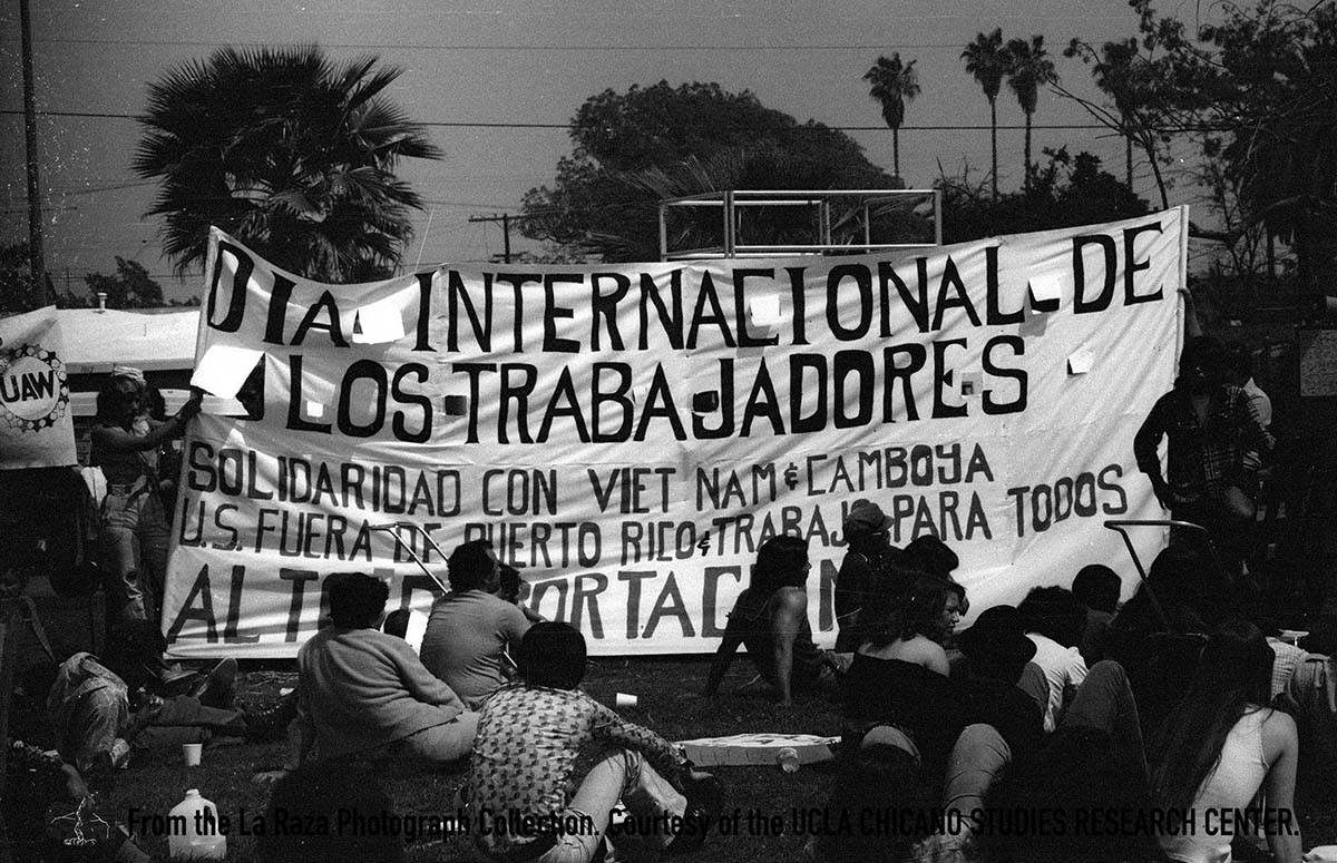 CSRC_LaRaza_B17F18S2_N006 A May Day demonstration |  La Raza photograph collection. Courtesy of UCLA Chicano Studies Research Center