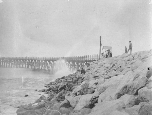Santa Monica Pier in 1902, before being rebuilt in concrete | Courtesy of the Los Angeles Public Library