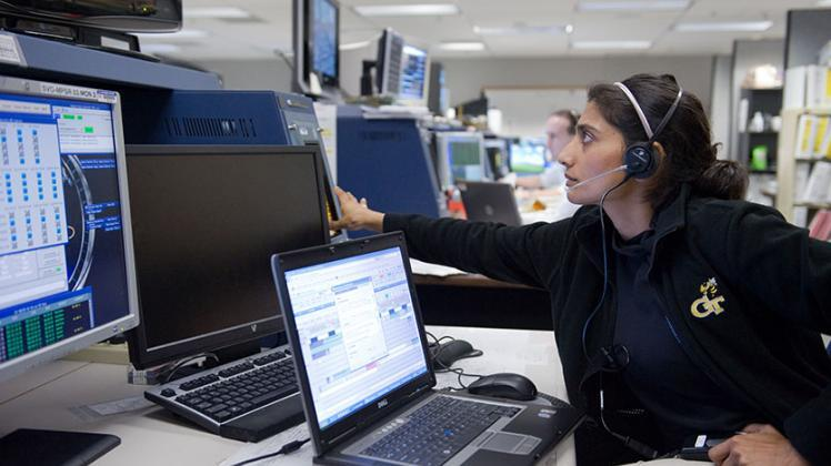 Mamta Patel Nagaraja in n Mission Control Center (Houston, TX) as the Assembly Video Engineer for the International Space Station. | NASA Science/Solar System Exploration