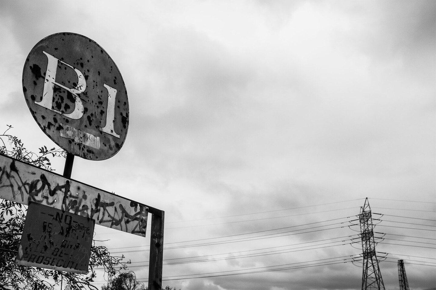 A sign near the Casitas Street entrance is one of the few remnants of the Bowtie Parcel's former life as one of Southern California's busiest rail classification yards | Photo by Bear Guerra