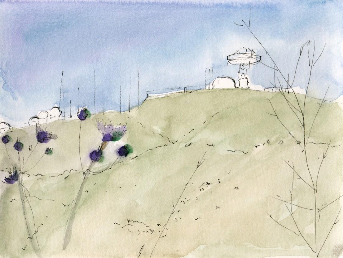 Sketch of Laguna Peak Tracking Station, 2016. Watercolor and ink on paper | Hillary Mushkin