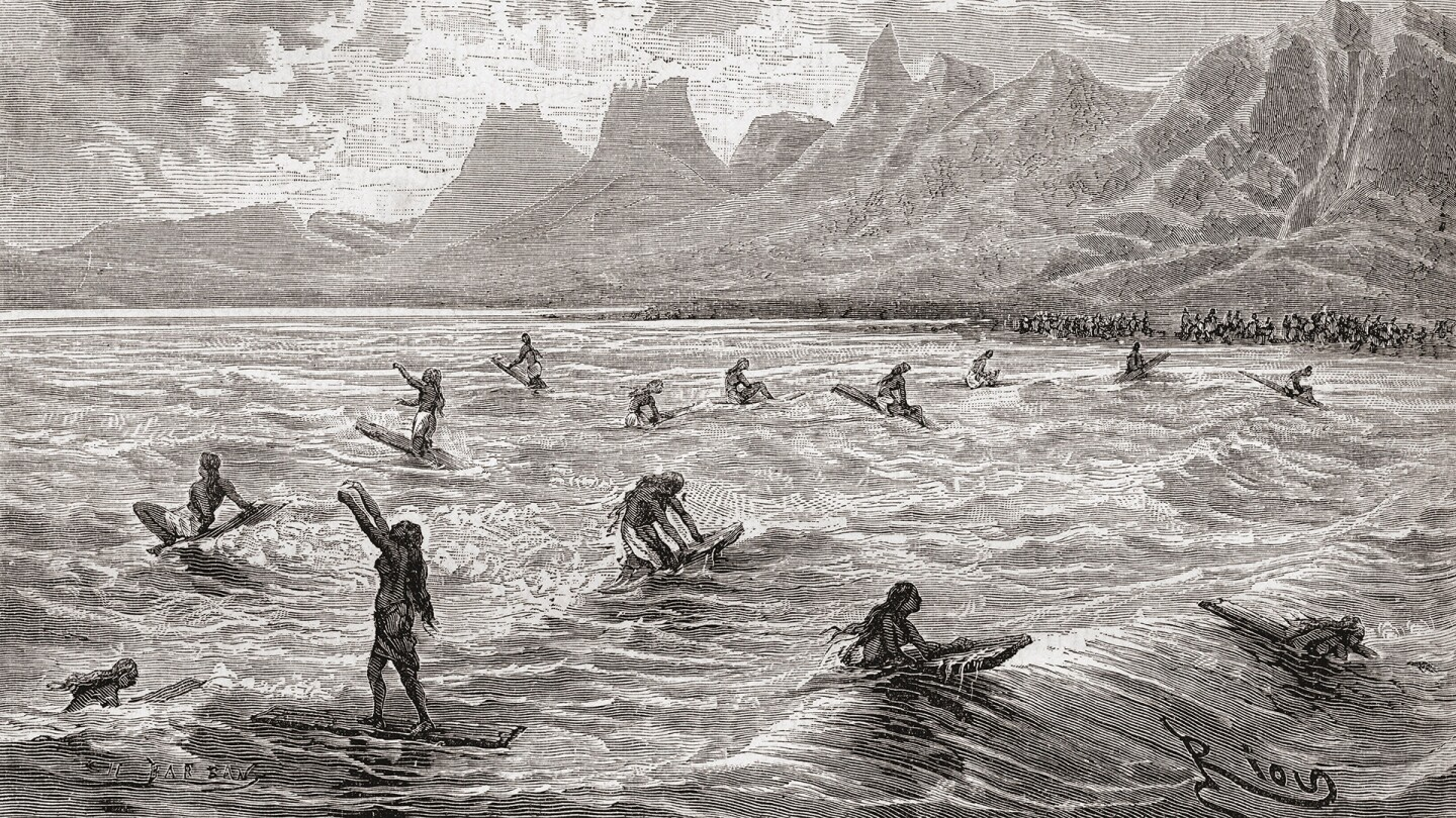 Hawaiians Surfing in the 19th Century (large)