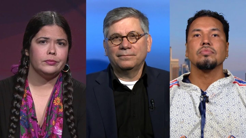(From left to right) Tara Houska, Mark Trahant and Gyasi Ross. | Democracy Now
