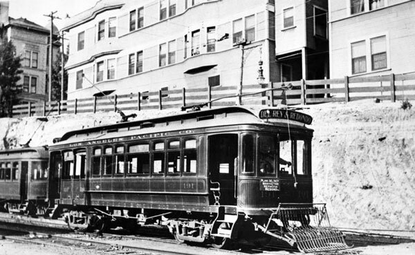 A car on the Los Angeles Pacific Railroad's Del Rey and Redondo Line, which ran through Manhattan Beach. Courtesy of the Photo Collection, Los Angeles Public Library.
