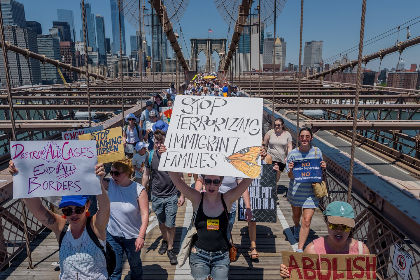 About 15 thousand New Yorkers marched in support of immigrant families to condemn the Trump administrations zero-tolerance policies on June 30, 2018.
