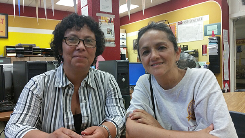 Juana Gutierrez and Consuelo Vazquez sit for an interview
