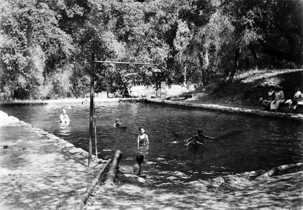 A swimming pool at Camp Rincon, Azusa, ca.1930 | Digitally reproduced by the USC Digital Library; From the California Historical Society Collection at the University of Southern California