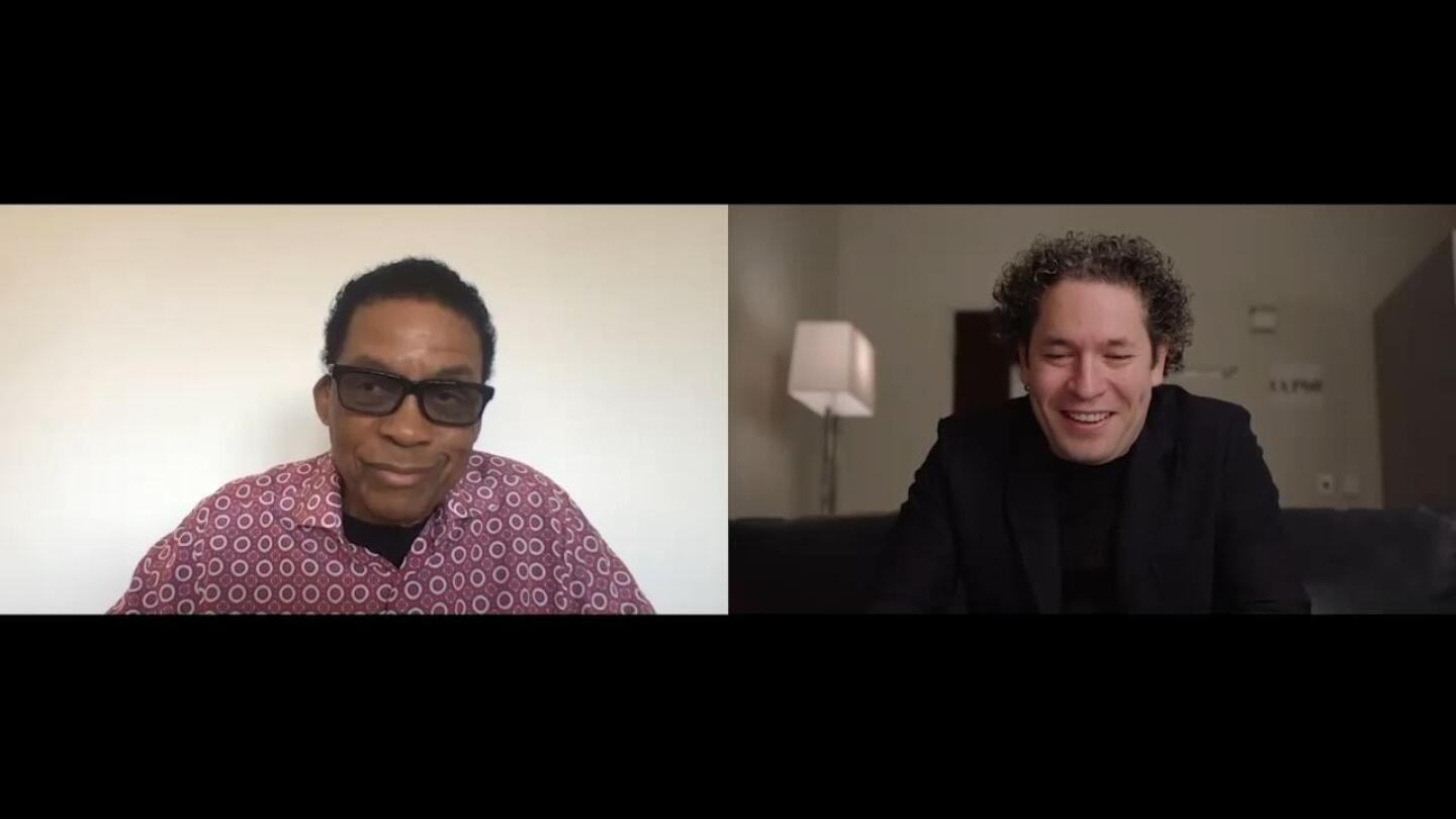 "Herbie Hancock with Gustavo Dudamel | Still from ""Jazz and the Hollywood Bowl"" In Concert at the Hollywood Bowl"