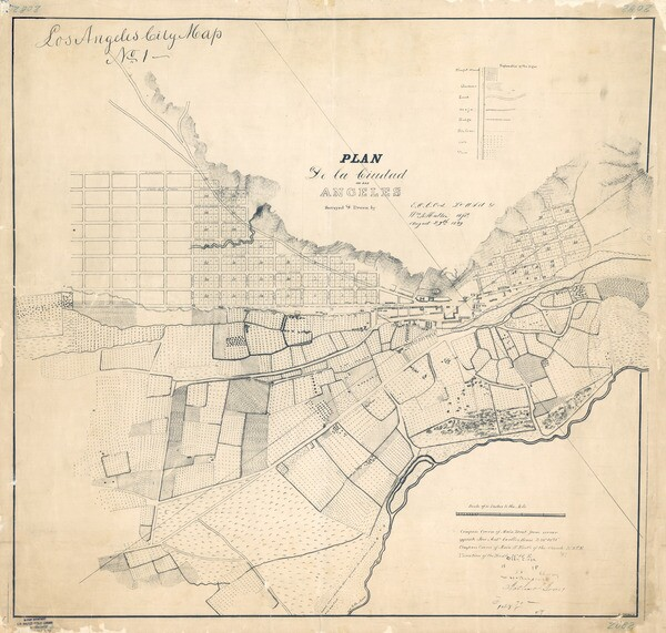 E. O. C. Ord's 1849 map is misleadingly labeled 'Los Angeles City Map No. 1.' Courtesy of the Map Collection, Los Angeles Public Library.