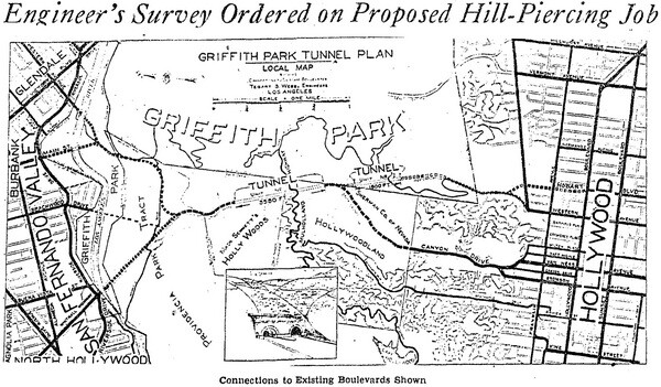 Proposed Griffith Park hill tunnel plan and Whitnall Highway plan, Los Angeles Times, April 19, 1931
