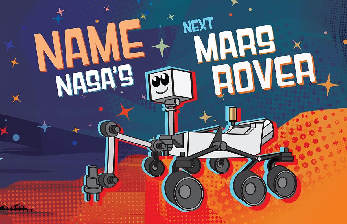 Name NASA's next Mars rover cartoon. | NASA/JPL-Caltech