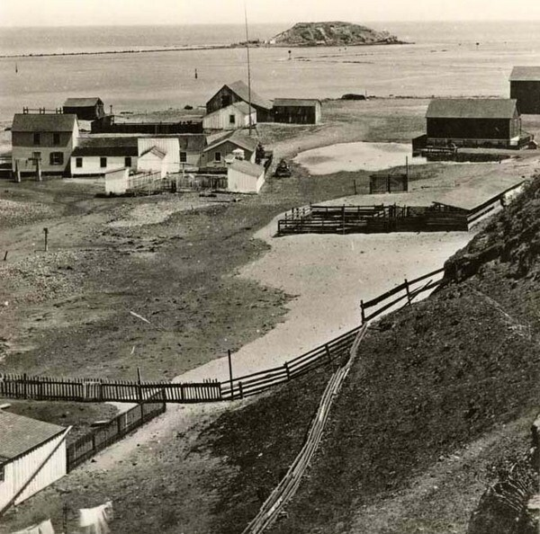 The town of San Pedro with Dead Man's Island in the background, circa 1873. Courtesy of the California State Library.