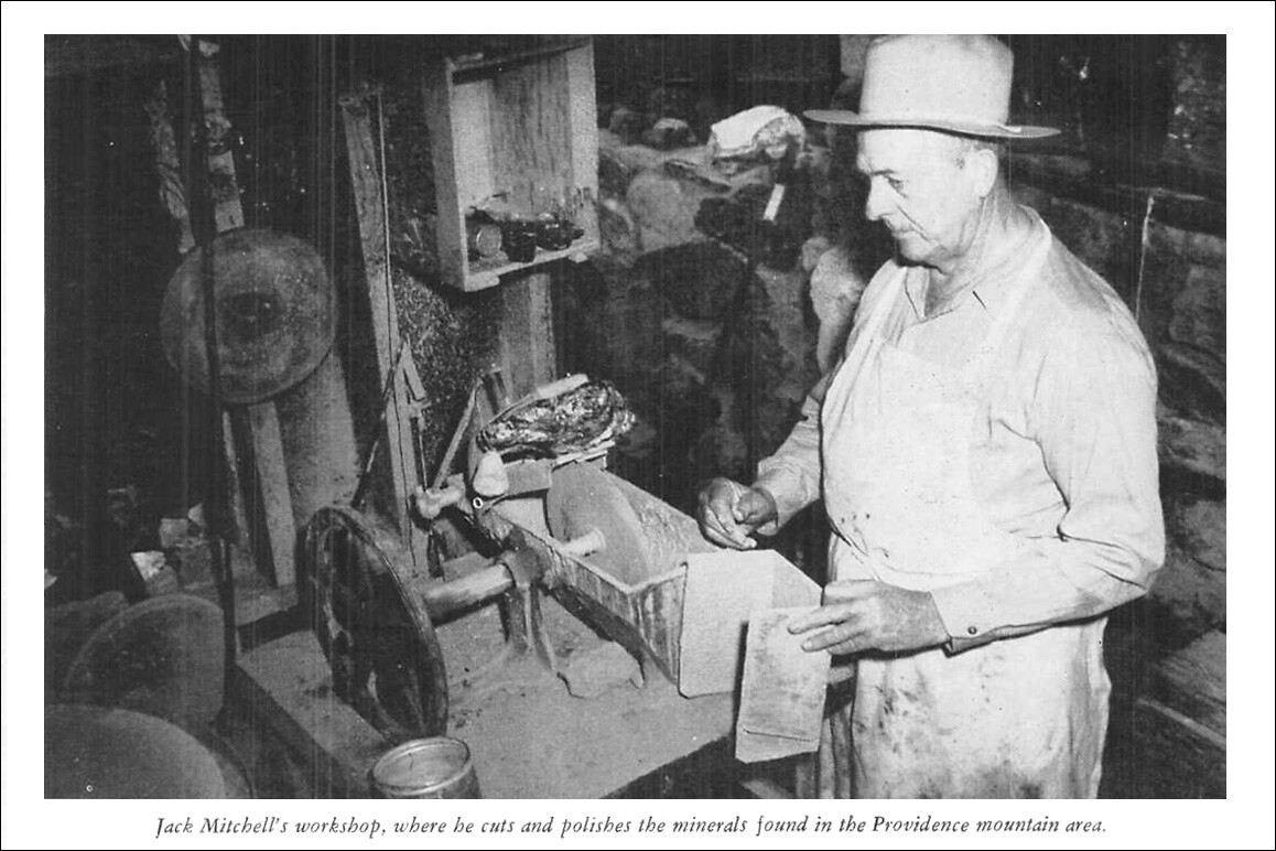 Above: Jack Mitchell shown in his workshop for a February 1942 Desert Magazine feature on Mitchell Caverns.