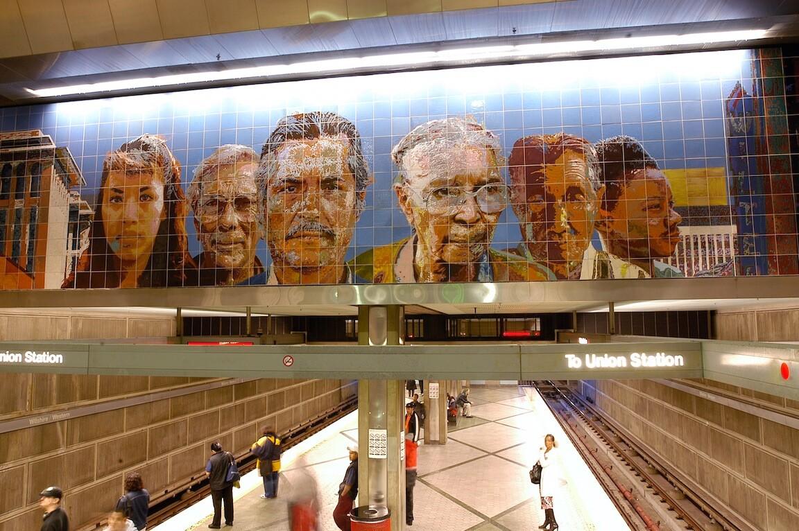 "Wilshire/Western Station. ""People Coming/People Going,"" Richard Wyatt"