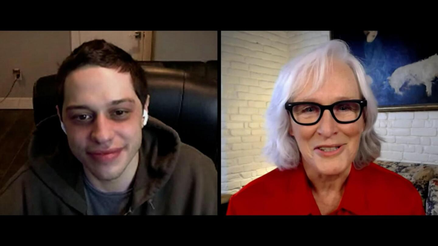 Glenn Close speaking with Pete Davidson