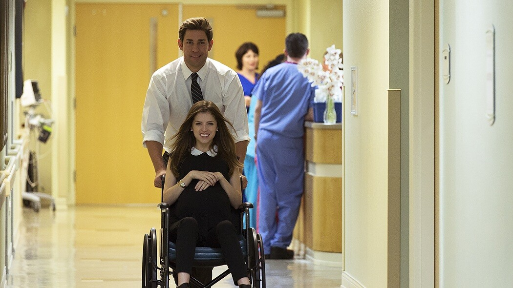 "John Krasinski and Anna Kendrick in ""The Hollars."""