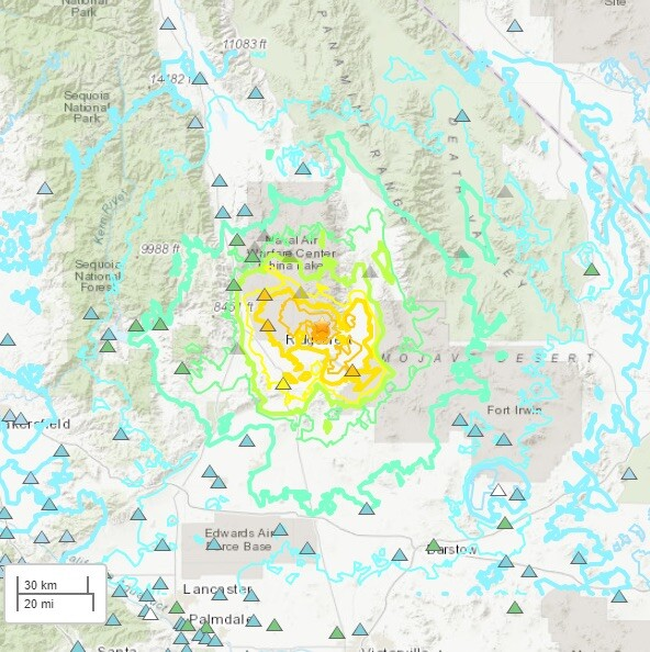 Map of Earthquake on July 4th, 2019