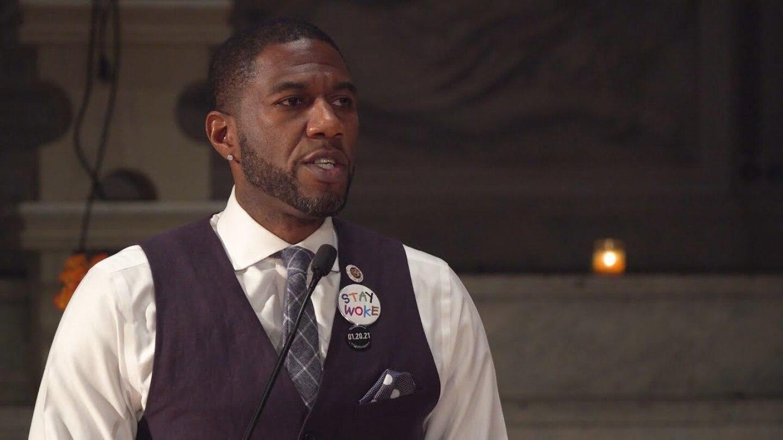 New York City Councilmember Jumaane Williams speaking at Judson Memorial Church. | Democracy Now