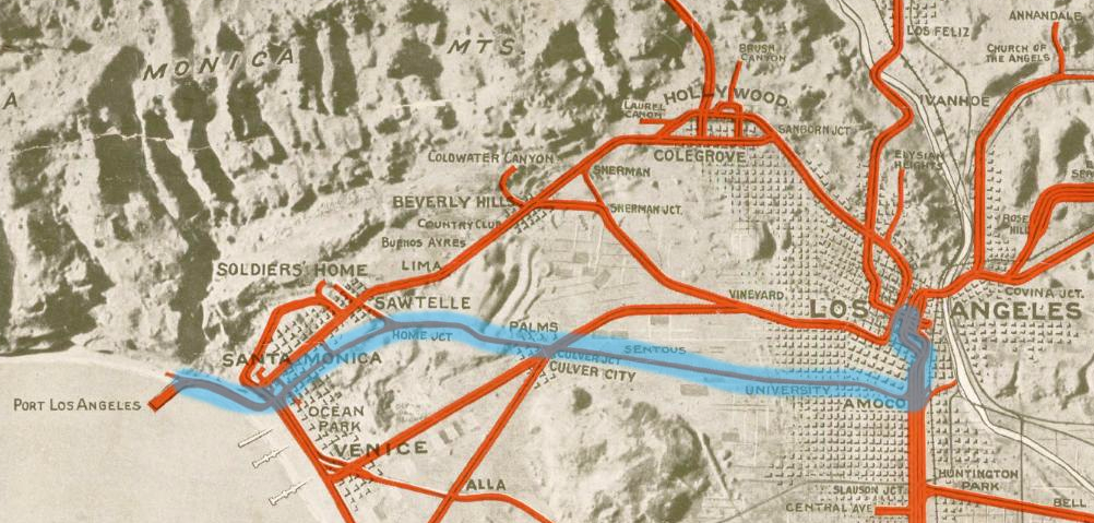 Detail of a circa 1920 relief map of the Pacific Electric interurban rail system. The Santa Monica Air Line is highlighted in aqua. Courtesy of the Special Collections, Young Research Library, UCLA.