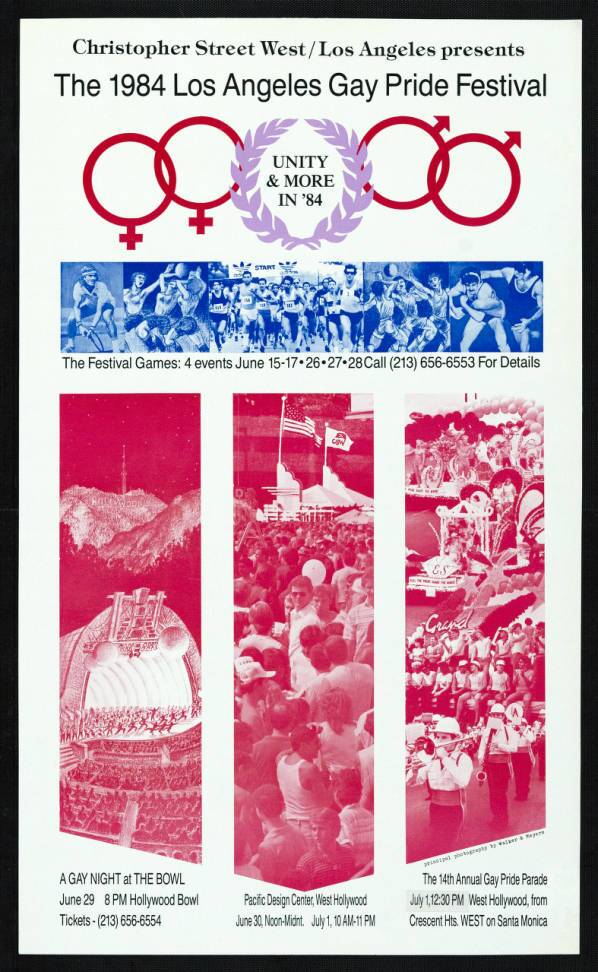 "Christopher Street West/Los Angeles presents the 1983 gay pride festival featuring the words ""Unity & more in '84,""  poster. 