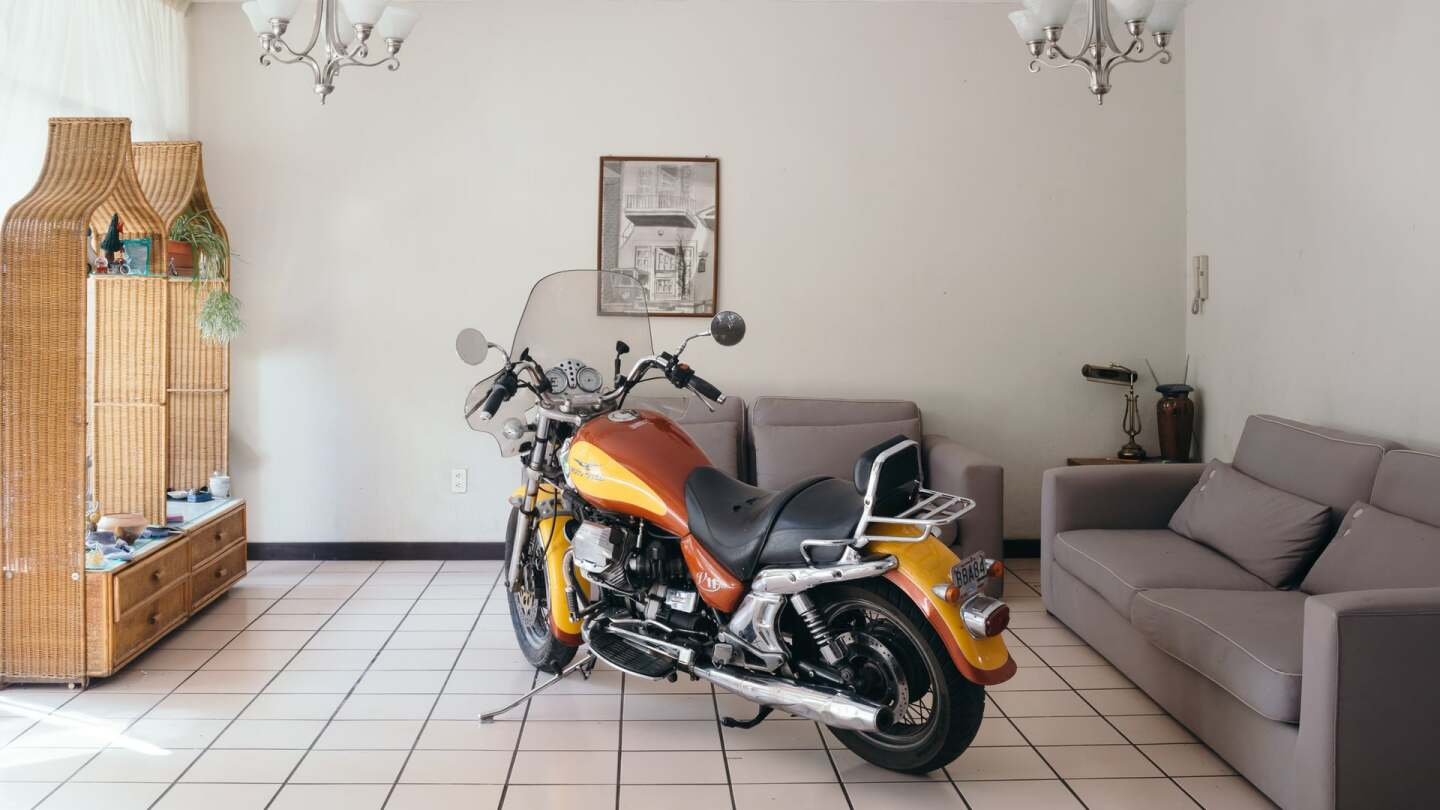 """Carmen Argote, """"If it were only that easy...,"""" 2018. Moto Guzzi V11 motorcycle in Guadalajara, in the artist's father's house 