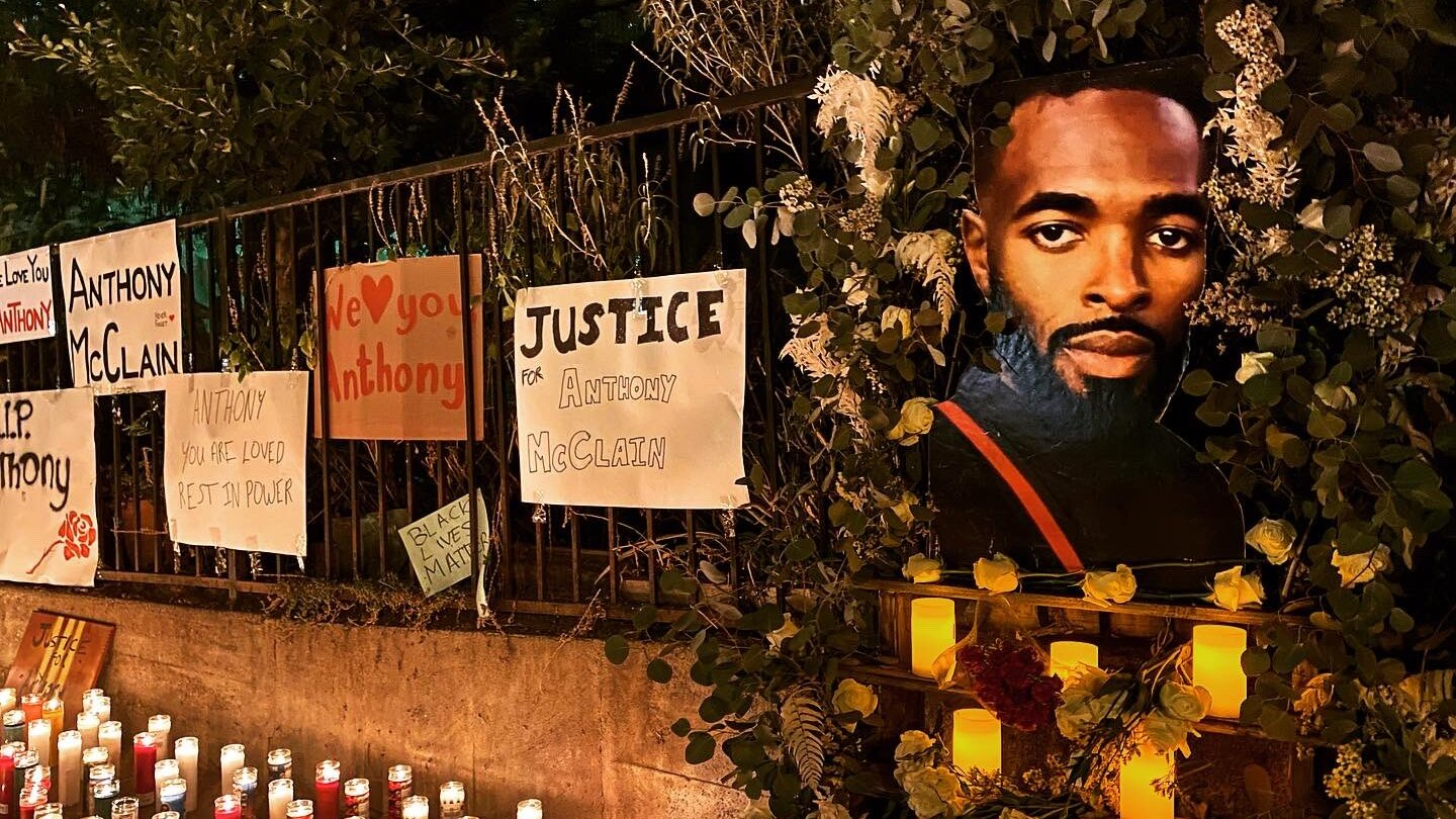 A candlelight memorial for Anthony McClain in Pasadena.