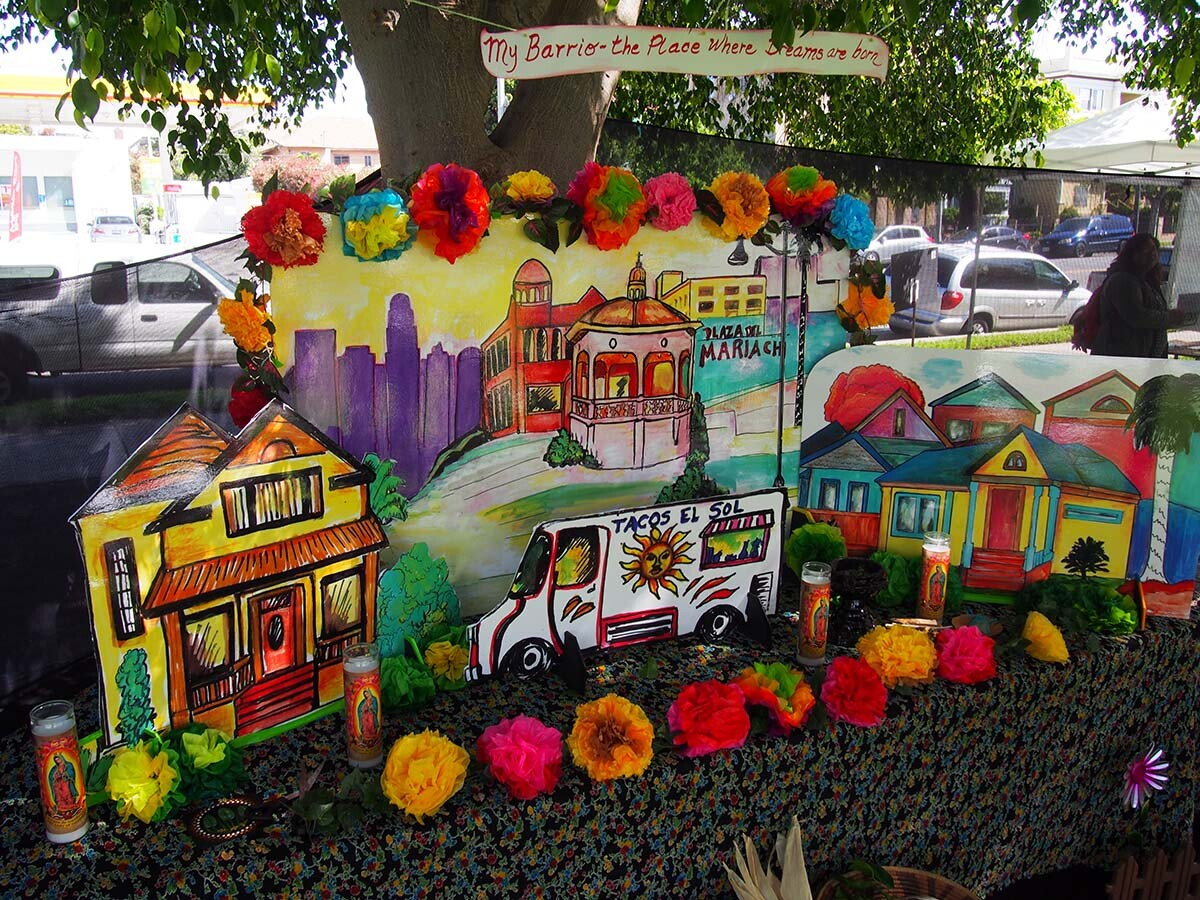 An altar by Ofelia Esparza and Rosanna Esparza Ahrens at SaludArte, a community event in Boyle Heights that centered local cultural assets as tools for social change. | Photo courtesy of ACTA
