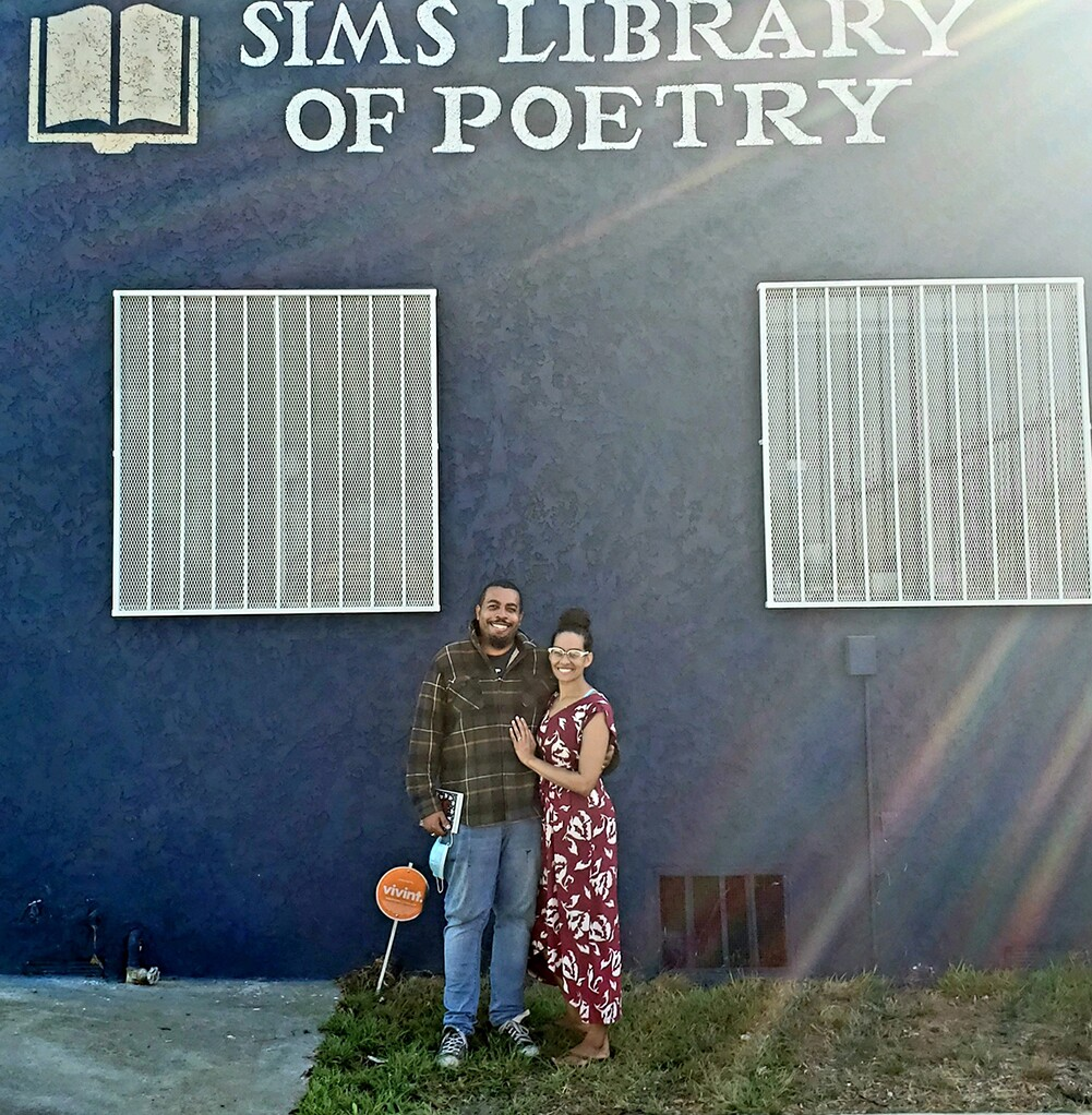 Hiram and Charisse Sims outside of their library of poetry | Joshua Jones