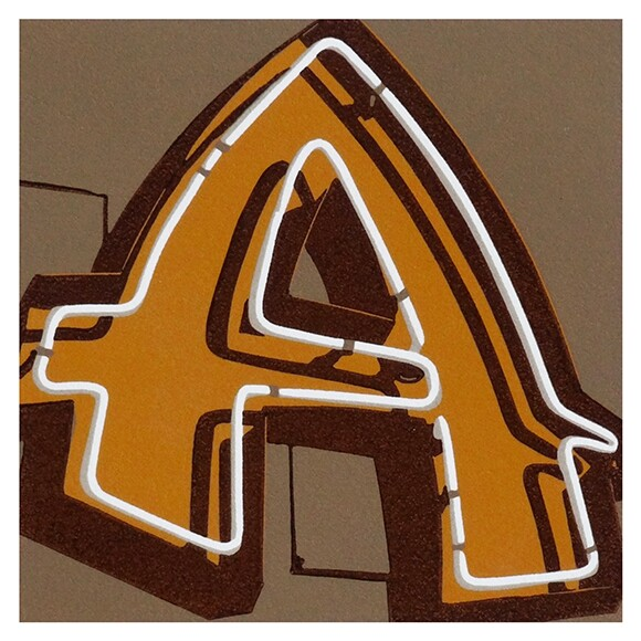 """""""7212 Sunset Blvd. (A),"""" """"LA Alphabet"""" Series by Dave Lefner, 2012, Reduction linocut in 4 colors, Edition of 26, 6"""" x 6""""   Courtesy of the artist and Skidmore Contemporary Art"""