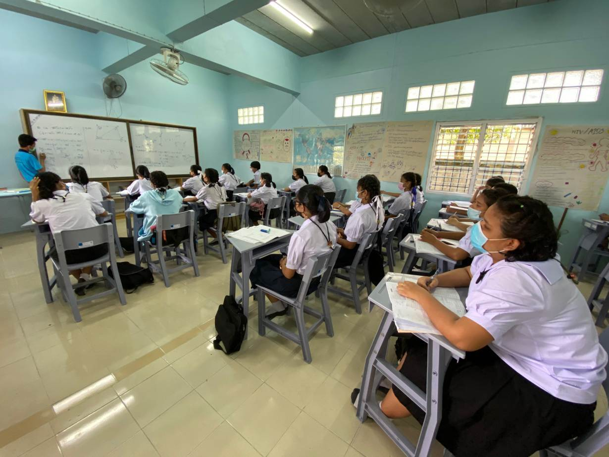 Burmese students study at a migrant learning center managed by the Marist Asia Foundation in Ranong, Thailand on September 10, 2020.   Thomson Reuters Foundation/Nanchanok Wongsamuth