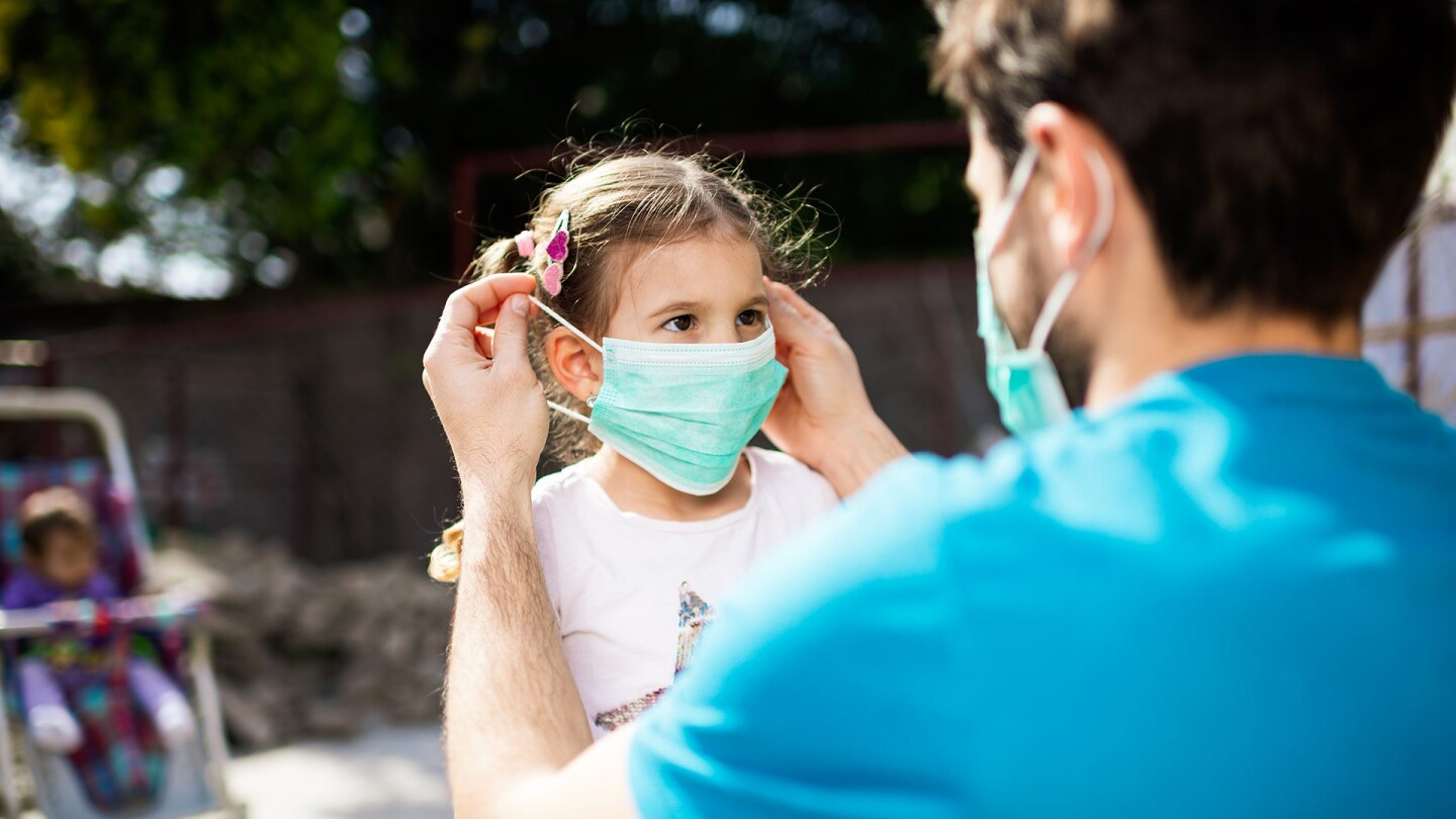 A grown-up puts a face mask on a small child while outside.