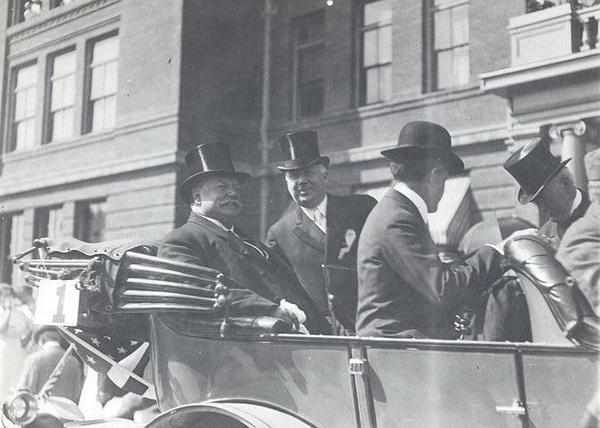 President Taft in front of the College of Arts and Letters. Speakers.  President William Taft October 16, 1911.