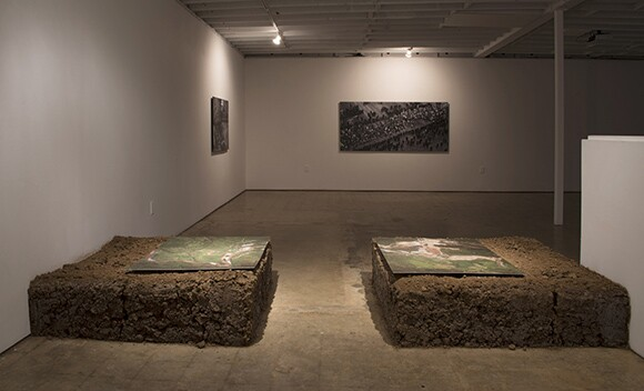 """Dammed Landscape"" (Installation View), 2013.  Digital prints and earth. 