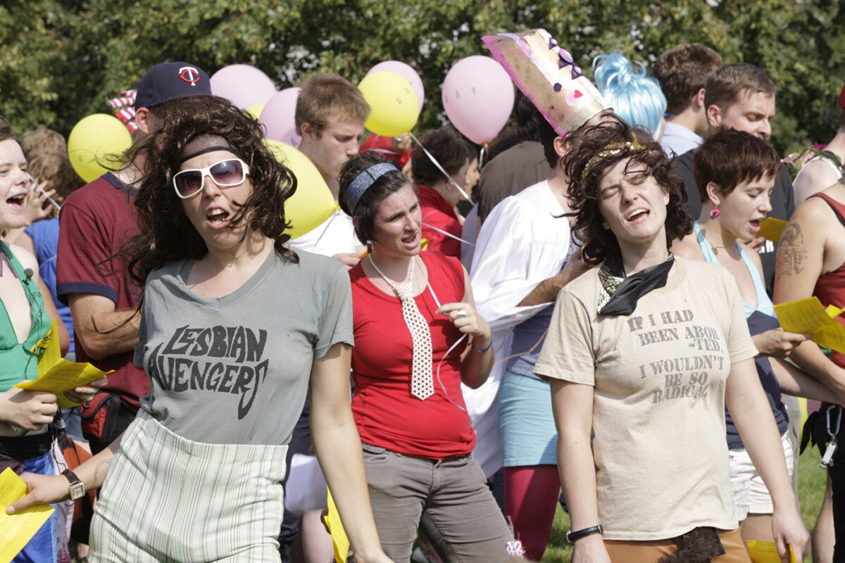 """A group of people perform """"Revolutionary Love: I am Your Worst Fear, I am Your Best Fantasy"""" (2008).   Courtesy of UCLA"""