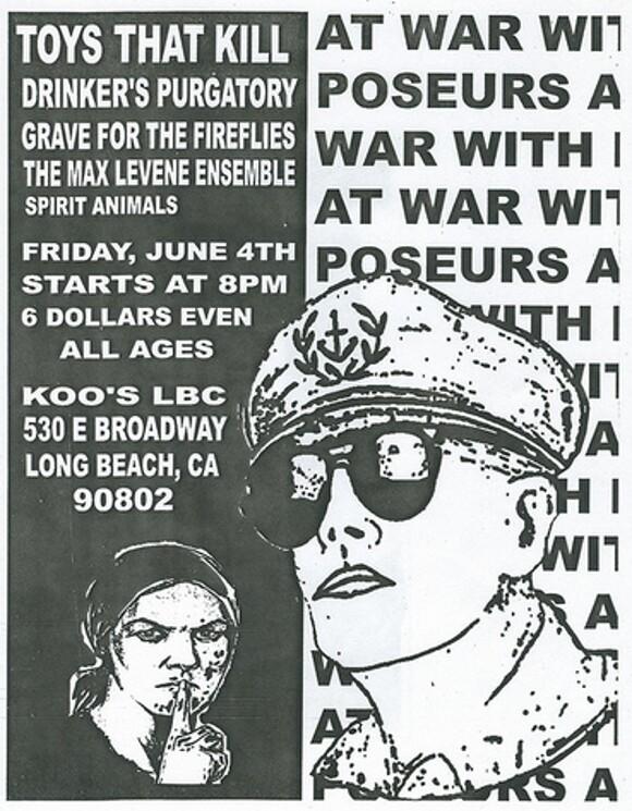 Toys That Kill flyer, Koo's Long Beach, 2004. | Courtesy of <a href='http://www.flickr.com/photos/lifeontheedge/'>Marshall Astor</a>.