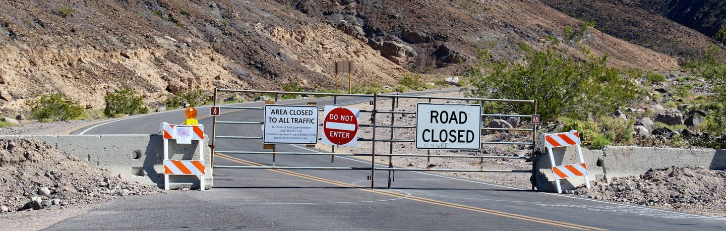 Road Closed barrier in Death Valley