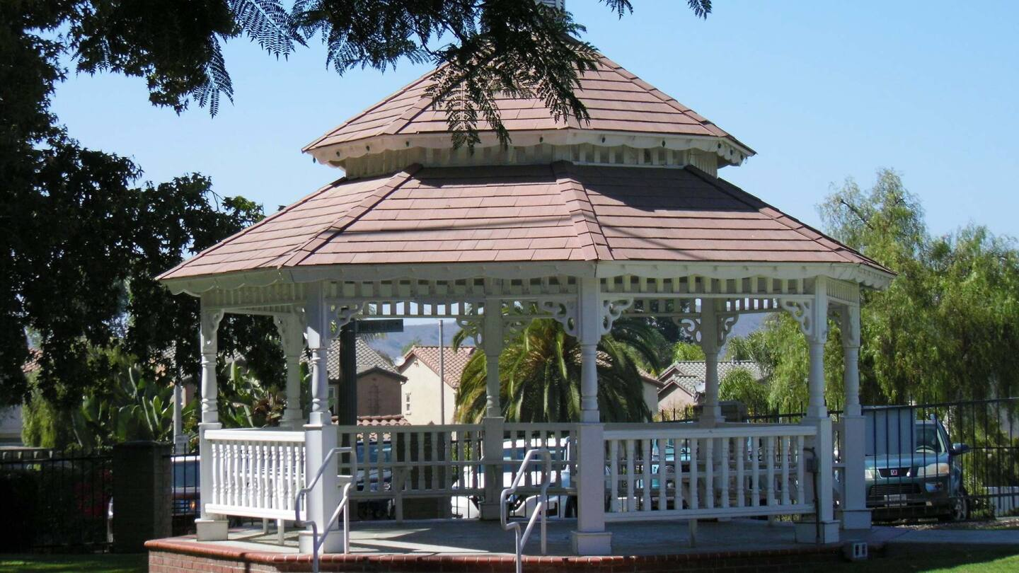 A gazebo from the Heritage Park Village Museum.