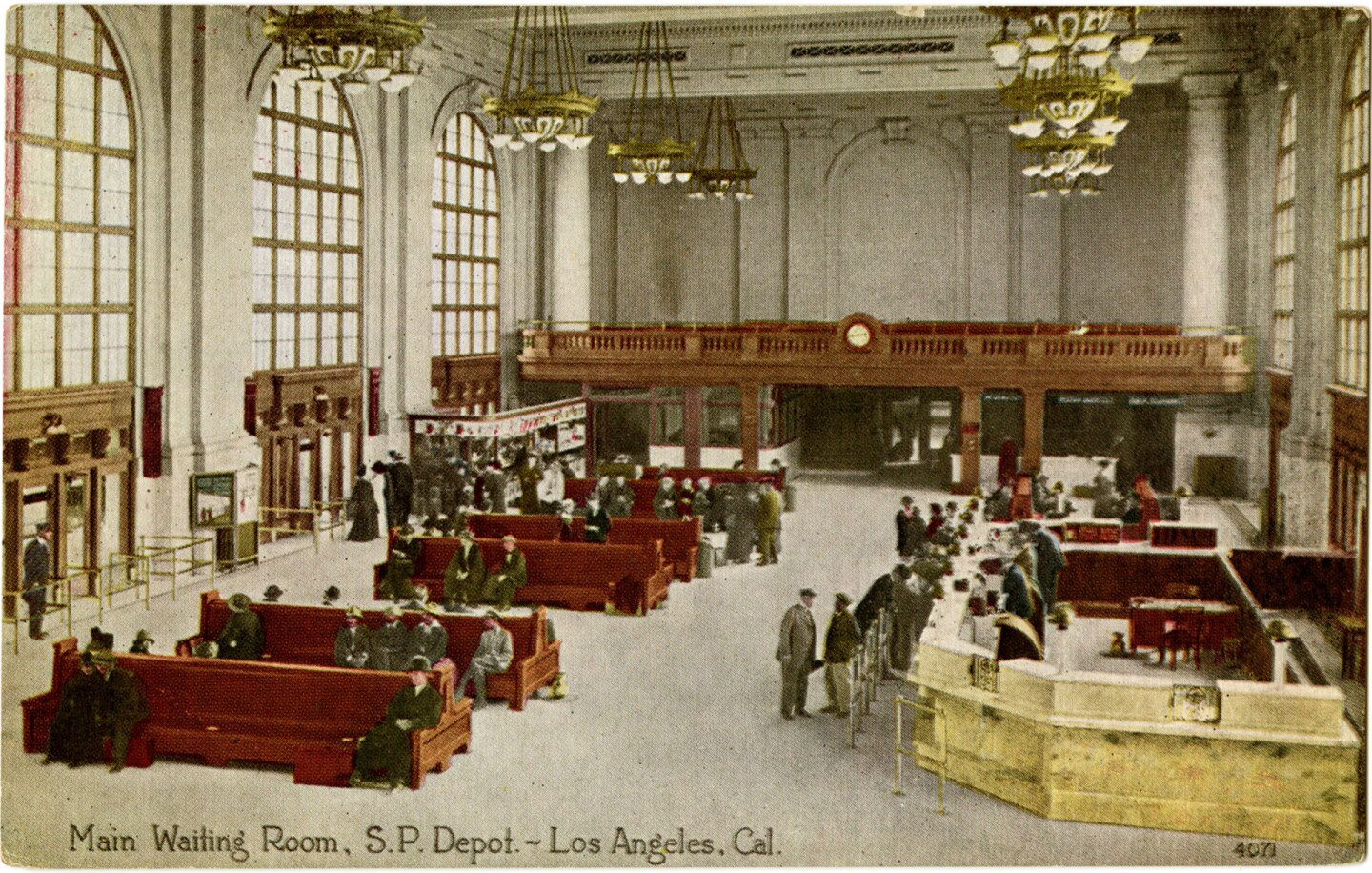 Circa 1914-1939 postcard showing the Arcade Depot's waiting room