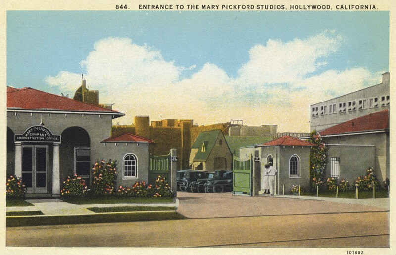 Postcard of the entrance to the Pickford studios, circa 1920s, courtesy of the California State Library.