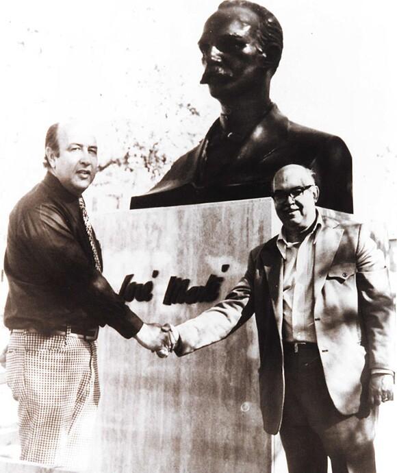 Civil engineer Carlos Sebastian Lorente, and Sergio López-Mesa installing José Martí Monument, 1976.   Cuban California Archive USC Libraries Special Collections.