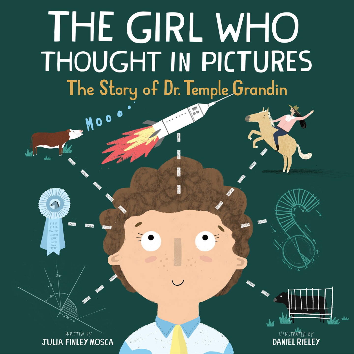 """Book cover of """"The Girl Who Thought In Pictures,"""" featuring an illustration of a girl's head surrounded by a cow, a rocket, a cowgirl, graphs and a blue ribbon award."""