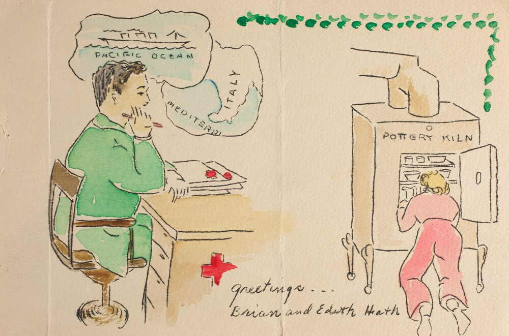 Greeting card from Brian and Edith Heath, ca. 1942 | Courtesy of the Environmental Design Archives at UC Berkeley